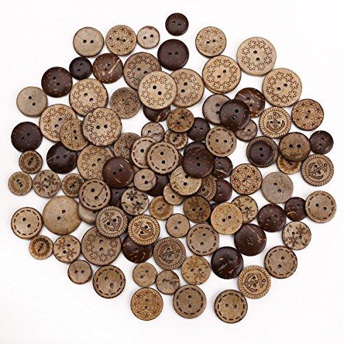 Surepromise 100 Stück Holzknöpfe Kokosknöpfe Kinderknöpfe Knöpfe Scrapbooking Kinder Kleidung Deko Kunststoff DIY Basteln Nähen (100 Stück)