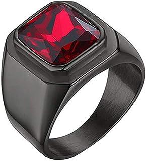 SINLEO Men's Stainless Steel Square Gemstone Ring Statement Wedding Band Ruby Stone Black Red Size 12