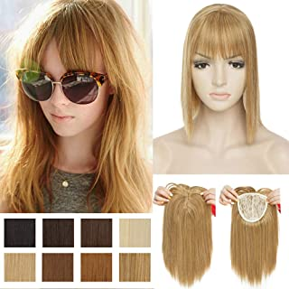 Bob Women Clip in Toppers 11 Inch Japanese Synthetic Hair Short Clip on Crown Toupee Hairpiece Middle Part for Thinning Hair Strawberry Blonde/Natural Blonde/Bleach Blonde