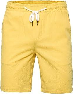 Elonglin Men's Summer Casual Bermuda Shorts Outdoor Lightweight Beach Shorts Elastic Waist Drawstring Workout Shorts with Pockets