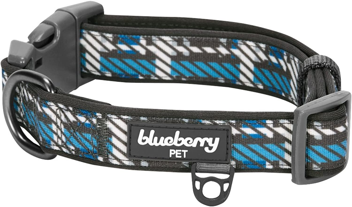 blueeberry Pet Soft & Comfy Scottish Charleston Regimental Stripes Designer Padded Dog Collar, Medium, Neck 14.5 20 , Adjustable Collars for Dogs