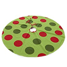 LALABULU Christmas Tree Skirt 35.5 Inches Xmas Tree Skirt Christmas Green Polka Dot Christmas Decorations Indoor Outdoor