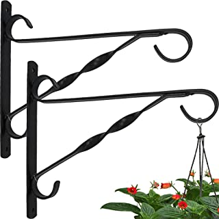 2 Pack Hanging Plants Bracket 10'' Wall Planter Hook Flower Pot Bird Feeder Wind Chime Lanterns Hanger Patio Lawn Garden for Shelf Shelves Fence Screw Mount against Door Arm Hardware