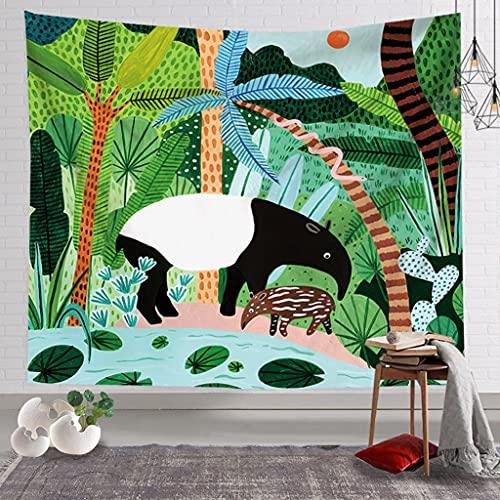 KONZFV tapizPintura al óleo Plantas Tropicales Tapiz cabecera Pared Arte Colcha Dormitorio Tapiz para Sala de Estar Dormitorio decoración del hogar