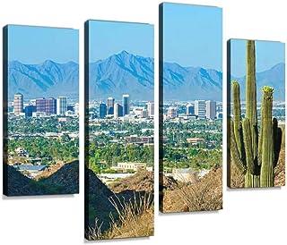 Phoenix skyline framed by saguaro cactus and mountainous desert Canvas Print Artwork Wall Art Pictures Framed Digital Prin...