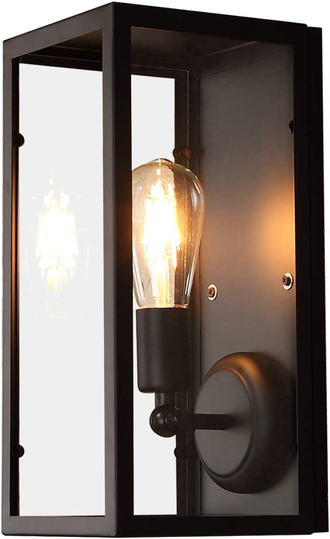 JiaYouJia Industrial Square Black Metal Selling and selling Shade Single-Light Max 53% OFF Glass