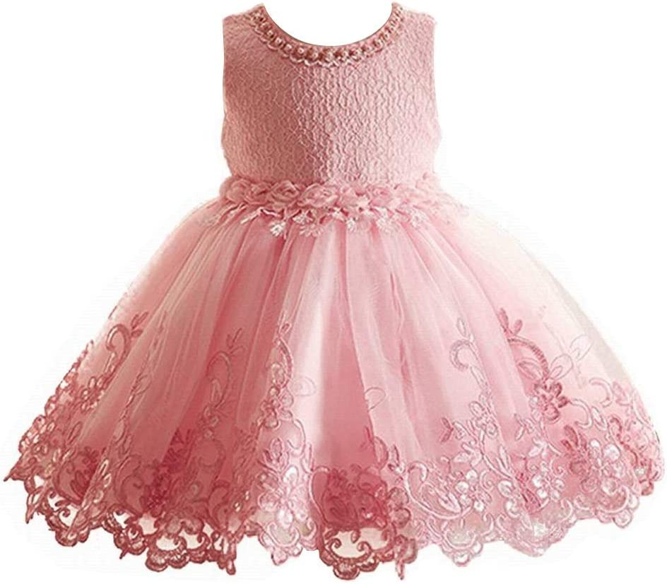 Girls Dresses Princess Lace Flower Wedding Pageant Birthday Party Kids Pink  Dress (5-5 years)