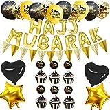 iBellete Nuevo Ramadán Decoración Eid Mubarak Globo Set con Accesorios de decoración de Bandera de extracción para decoración de decoración de Fiesta en casa