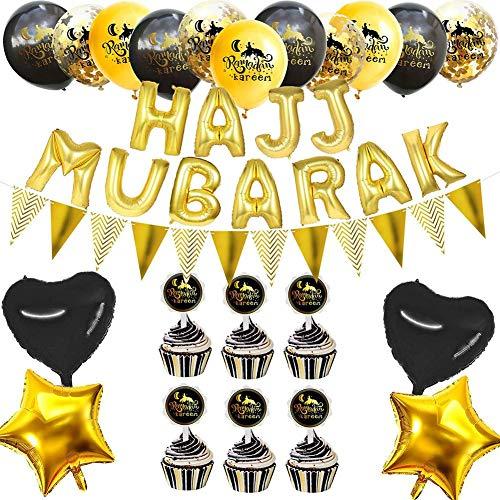 mooderff Eid mubarak ballonnen, Ramadan Kareem decoratie met treklip rekwisieten voor home party decoratie
