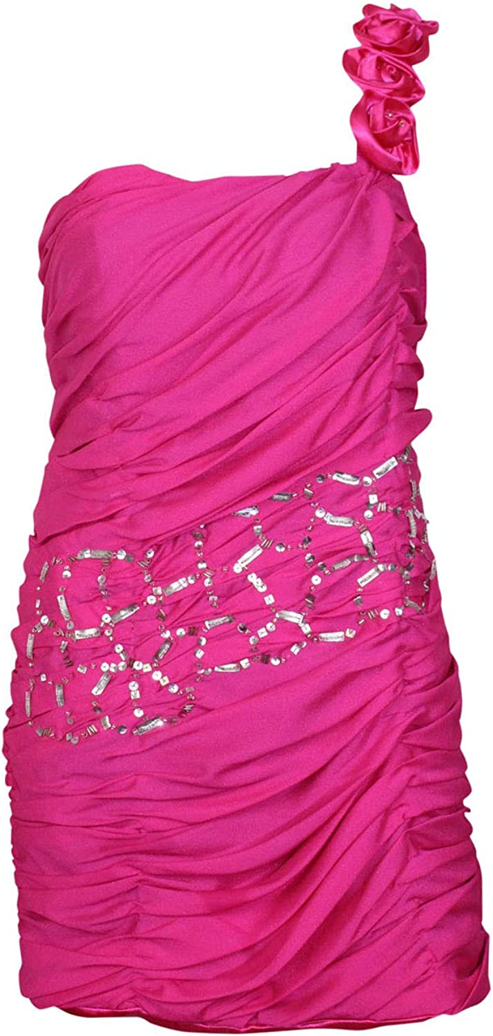 MagNolia's Womens One Shoulder Strap Ruched Dress Fuchsia Large
