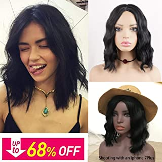 Short Bob Curly Hair Wigs for Black Women Phoenixfly 14Inch Shoulder Length Short Wavy Middle Part Synthetic Hair Wigs Natural Looking Cosplay Hair Replacement Wigs with Wig Caps (Natural Black)