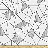 Ambesonne Abstract Fabric by The Yard, Shapes Modern Geometric Pattern Line Art Cubism Inspired Design, Decorative Fabric for Upholstery and Home Accents, 1 Yard, Black White