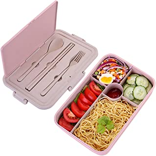 Bento Box for Kids Lunch Containers with 5 Compartments for Adults BPA-Free Lunch Box Food Containers (Spoon&Fork&Chopsticks included, Pink)