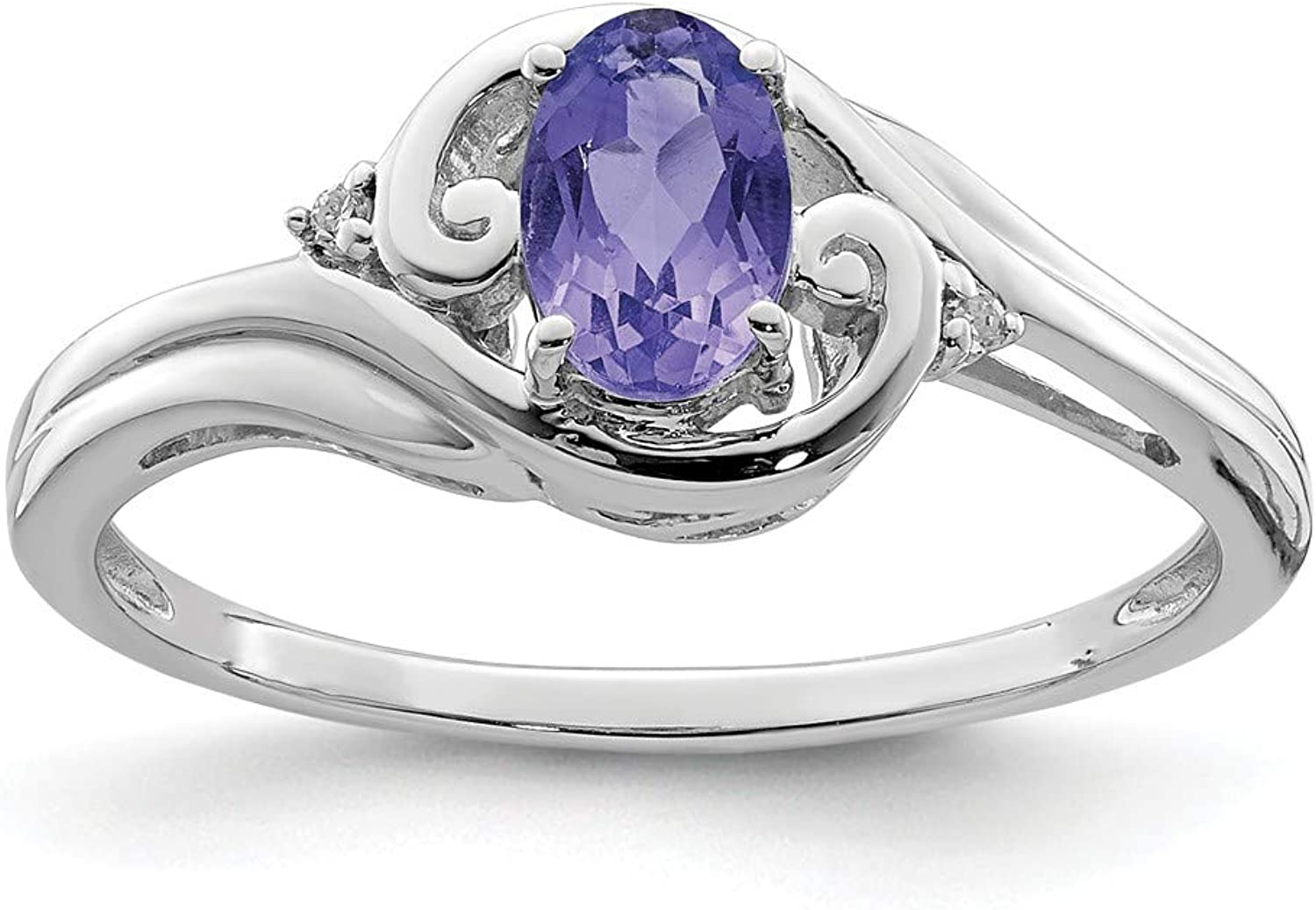 14K White gold Over Diamond And Tanzanite promise Solitaire Engagement Ring For Women (0.42ct)