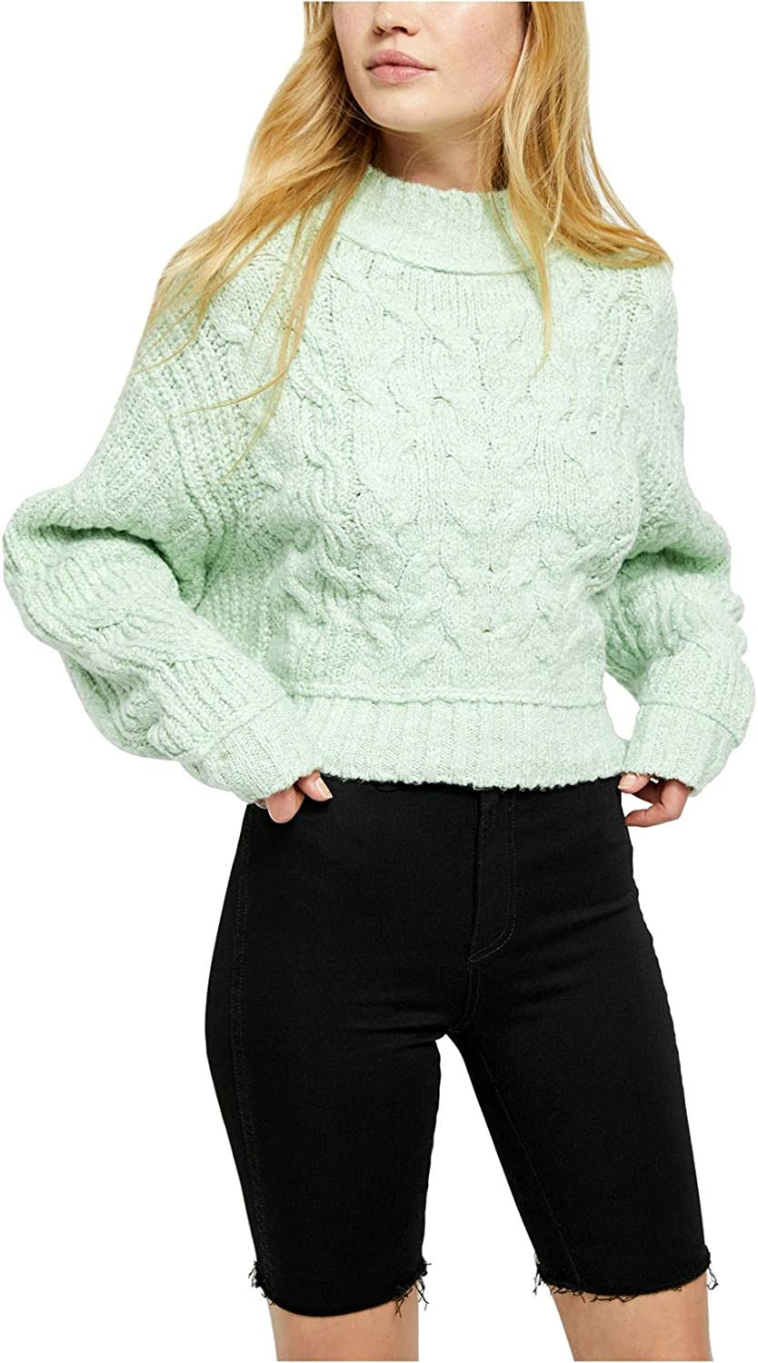 Free People Womens Merry Go Round Cable Knit Cropped Pullover Sweater Green M