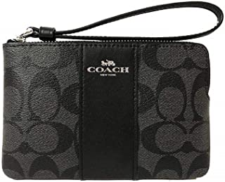 F58035 Corner Zip Wristlet in Signature Coated Canvas with Leather Stripe Black Smoke - Black