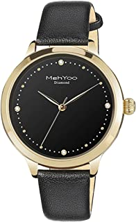 MehYoo Diamond Gold Watches for Women, Waterproof Black Leather Watch Japan Quartz Movement