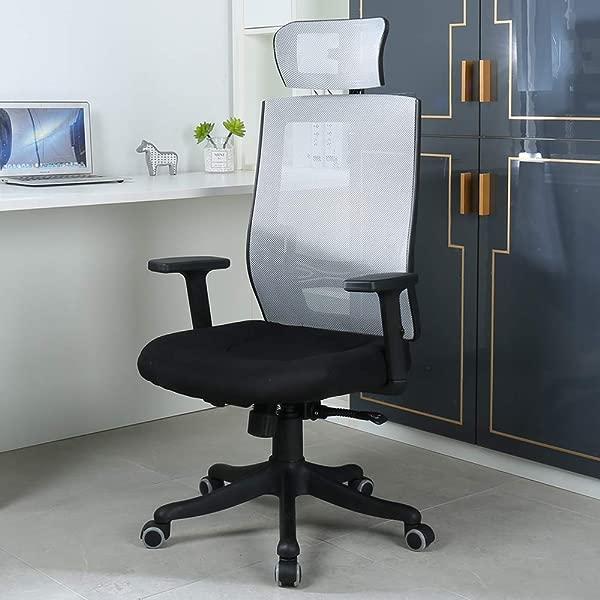 OWLN Ergonomic High Back Mesh Office Chair With Adjustable Headrest And Armrest Desk Chair Grey