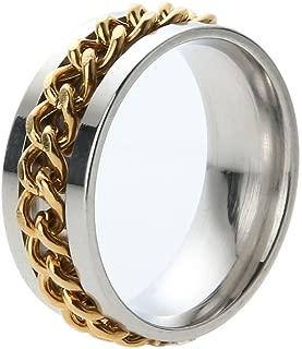 Globeagle メンズリング マンチタン鋼チェーンフィンガージュエリースピナーリング(ゴールド)