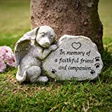 Dog Memorial Stone Statue, Sleeping Angel Dog Pet Memorial Stones Forever in Our Hearts, Dog Gravestone Figurine for Deceased Pet, Antique Stone Finish