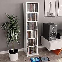 Festnight Meuble CD Etagères de Rangement pour CD et DVD Meuble de Rangement Blanc Brillant 21 x 16 x 88 cm Aggloméré