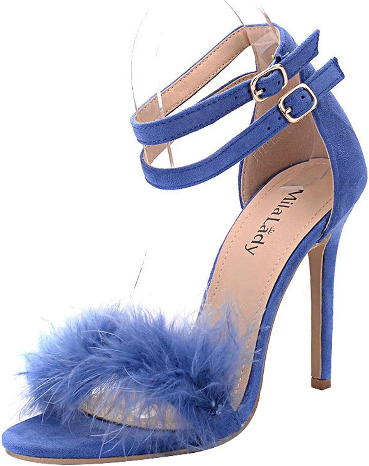 Mila Lady (EILEEN18 Sexy Feather Ankle Strap Open Toe Stiletto Lady Heeled Sandal, R.blueE7.5