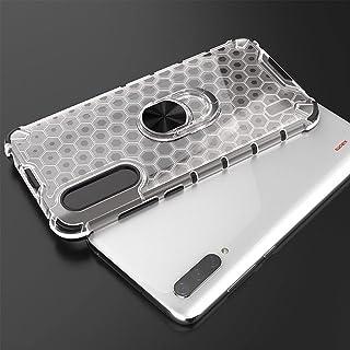 غطاء مضاد للصدمات لهاتف Xiaomi Mi 9 Lite Iron Man - حواف سوداء خلفية خلية نحل شفاف مع مسند حلقي