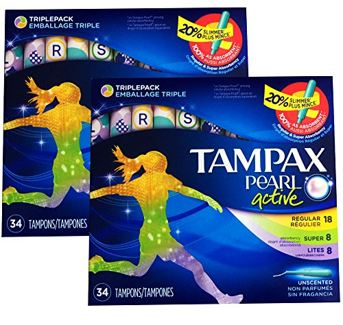 Tampax Pearl Active Plastic Tampons, Triple pack, Light/regular/super Absorbency, Unscented, 34 Count, PACK OF 2