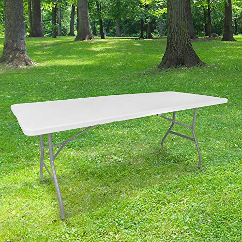 Folding Side Table 180 cm Rectangular White – 8 People Camping Table L180 x W74 x H74 cm High Density HDPE Thickness 3.5 cm – Grey Coated Steel Legs – Ideal for Ceremonies