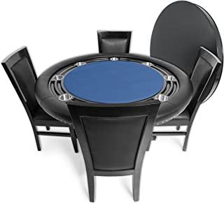 BBO Poker Nighthawk Poker Table for 8 Players with Felt Playing Surface, 55-Inch Round, Includes Matching Dining Top with 4 Dining or Lounge Chairs