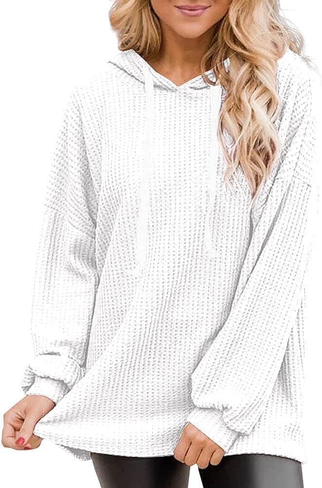 SySea Women's Oversized Hoodies Tops Casual Waffle Knit Long Sleeve Drawstring Lightweight Pullover Sweatshirts