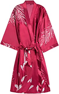 Silk Cloth Pajamas, Ladies Spring and Summer Robes, mid-Length V-Neck Gowns, Casual Home wear, Cardigan Thin Pajamas (Color : Red, Size : L)