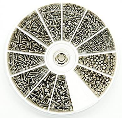 Foto di PROtastic Kit di viti e bulloni in acciaio inox, 600 pezzi assortiti: M1, M1.2, M1.4, M1.6 - Ottimo per occhiali e orologi