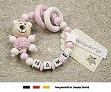 Baby Greifling Beißring geschlossen mit Namen - individuelles Holz Lernspielzeug als Geschenk zur Geburt Taufe - Mädchen Motiv Bär und Stern in weiss