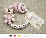 Baby Greifling Beißring geschlossen mit Namen - individuelles Holz Lernspielzeug