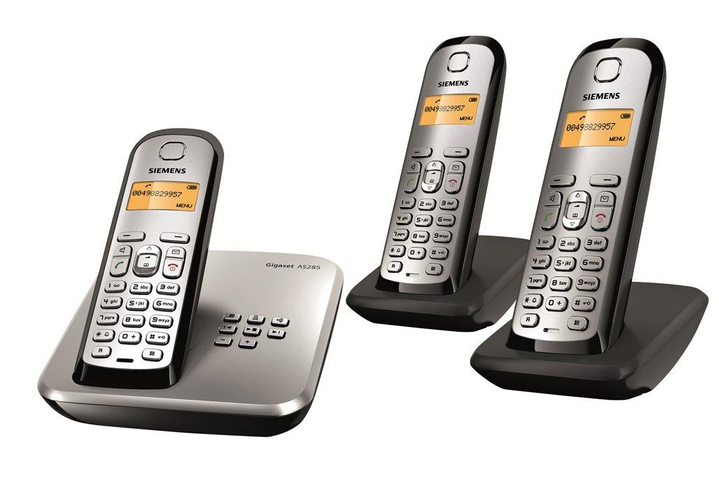 Gigaset AS285 Trio – Teléfono inalámbrico DECT (contestador automático, 2 x microteléfonos, incluye base de carga), color plateado: Amazon.es: Electrónica