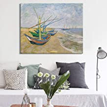 HANTAODG Impresión De La Lona Barcos De Pesca En La Playa En Les by Van Gogh Impresión De Póster En Lienzo Arte De La Pared Pintura Decorativa para La Habitación del Hogar 50Cmx70Cm