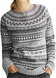 Womens Casual Print Winter Sweater O-Neck Long Sleeve Knit Pullover
