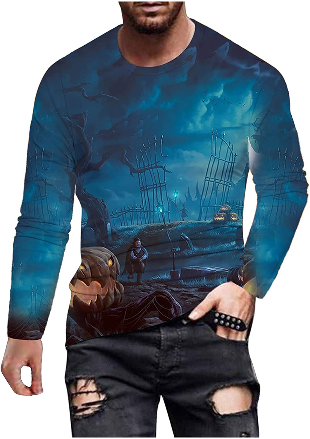 xoxing Halloween Shirts for Men Casual Autumn Plus Size 3D Printed Long Sleeve Crew Neck Tops Loose Blouse Pullovers