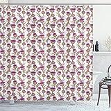 ABAKUHAUS Distel Duschvorhang, Sommer Blumen Disteln, mit 12 Ringe Set Wasserdicht Stielvoll Modern Farbfest & Schimmel Resistent, 175x180 cm, Apfelgrün Lila & Weiß