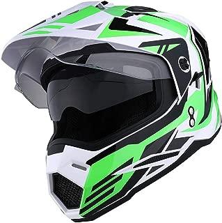 1Storm Dual Sport Motorcycle Motocross Off Road Full Face Helmet Dual Visor Storm Force Green, Size L
