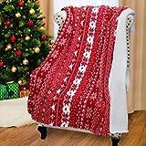 Catalonia Weihnachten Sherpa Decke, super weiche warme Flauschige Bequeme Lammwolle Schneeflocke Decken Wendbare Plüsch Fleece Weihnachten Thema wirft Sofadecke Kuschel Couchdecke, 155 x 127 cm, rot