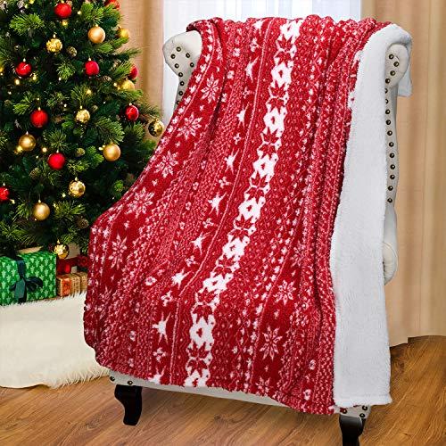 Catalonia Weihnachten Sherpa Decke, super weiche warme Flauschige Bequeme Schneeflocke Decken Wendbare Plüsch Fleece Weihnachten Thema wirft Sofadecke Kuschel Couchdecke, 150x130cm, rot