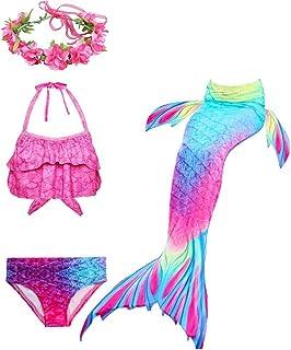 Beauenty Girl Swimsuit Set 4Pcs Mermaid Tail for Girls Swimming Swimsuits Princess Bikini Set for Toddler Big Girls Birthd...
