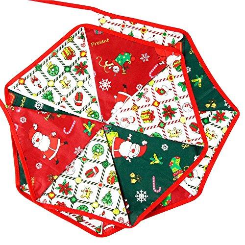 Demiawaking 3,2 m Weihnachten hängen Wimpel Baumwolle Tuch bunte Flagge Bäume Party Decor
