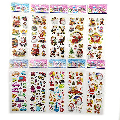 10Sheets Different 3D Cute Anime Stickers Toys Funny Toy For Children On Diary Phone Laptop Santa Claus