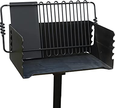 Pilot Rock CBP-247 Jumbo Park Style Heavy Duty Steel Outdoor BBQ Charcoal Grill with Cooking Grate and 2 Piece Post for Campi