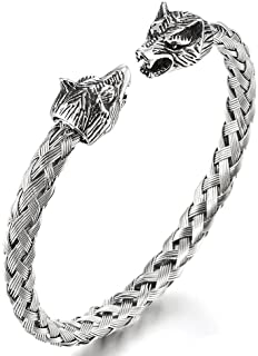 Mens Wolf Head Bracelet Steel Braided Cable Bangle Cuff...