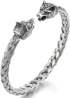 Mens Wolf Head Bracelet Steel Braided Cable Bangle Cuff Bracelet Polished, Adjustable