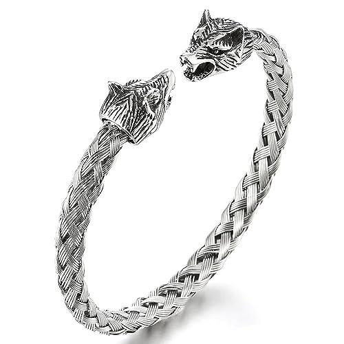 b10030b08ba02 Mens Wolf Head Bracelet Steel Braided Cable Bangle Cuff Bracelet Polished,  Adjustable